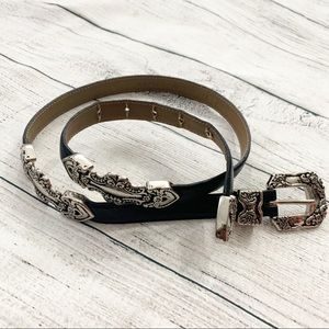 Accessories - Silver Detail Leather Belt . ML